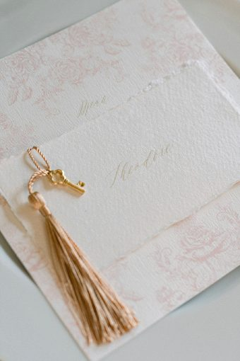 wedding stationery with gold key detail