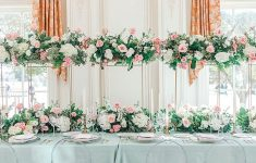 luxury blush gold and pale blue wedding tablescape