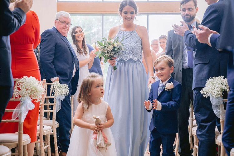 flower girl and page boy blue wedding