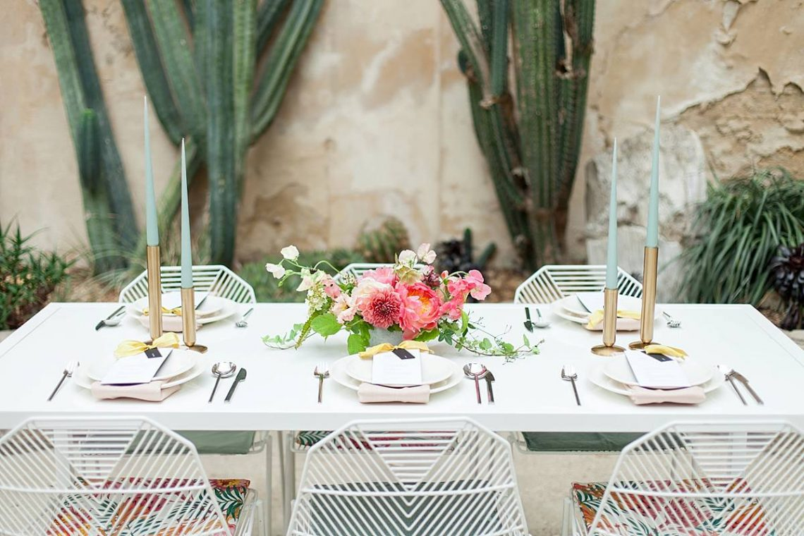 tropical destination wedding table styling