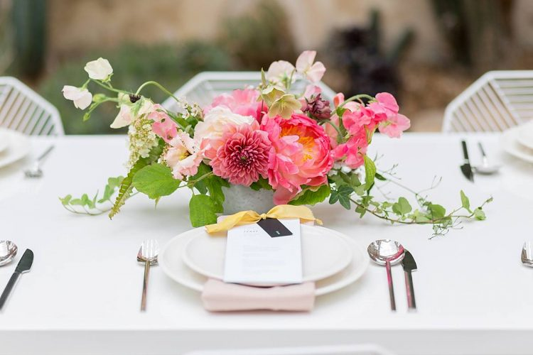 pink and yellow wedding table inspiration