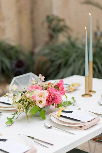 pink and yellow tropical wedding table styling