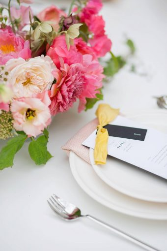 modern pink & yellow place setting for destination wedding