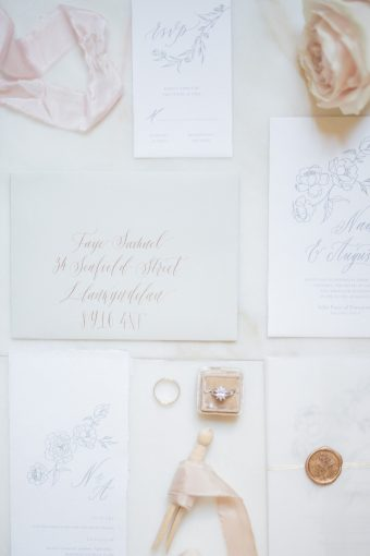 gold calligraphy wedding stationery