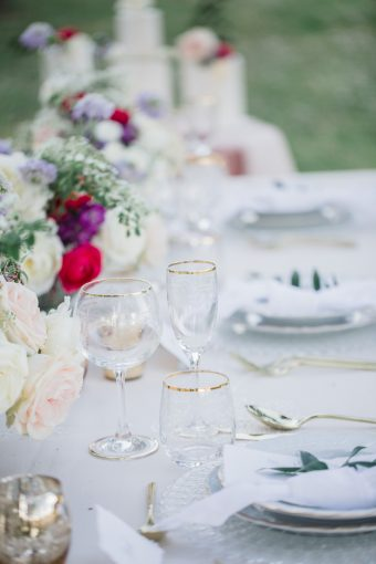 traditional tuscan wedding tablescape with pink and gold