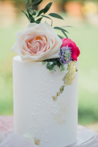 floral cake topper with gold leaf