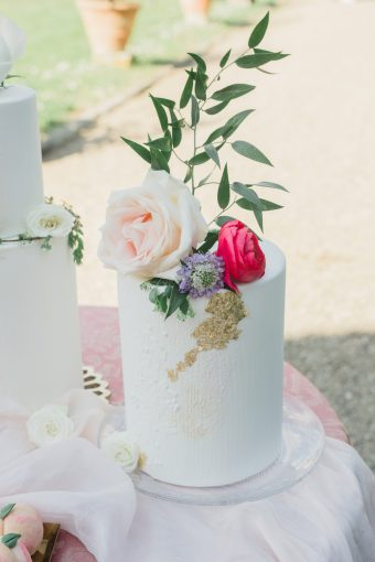 wedding cake by monannie with gold leaf and fresh flowers