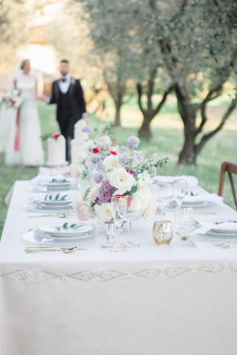 italian wedding table inspiration with lace table linen