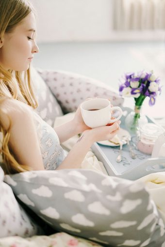 breakfast in bed with coffee boudoir shoot