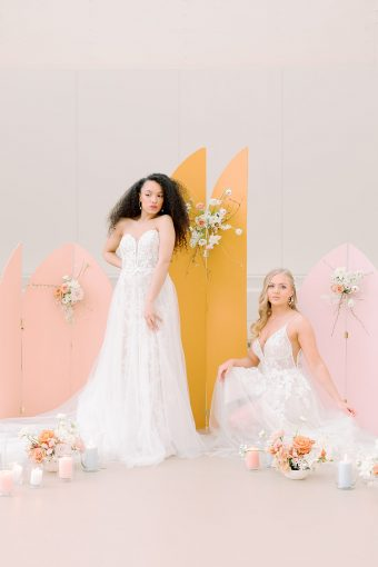 feminine spring bridal inspiration with geometric backdrop