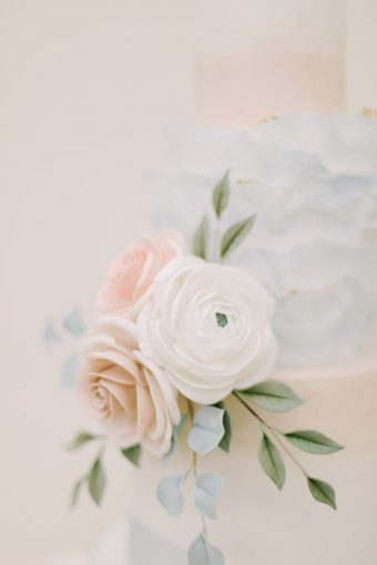 pastel blue and blush wedding floral cake sugarwork