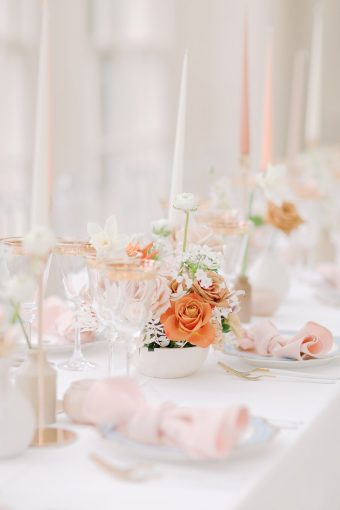 spring wedding tablescape banquet style