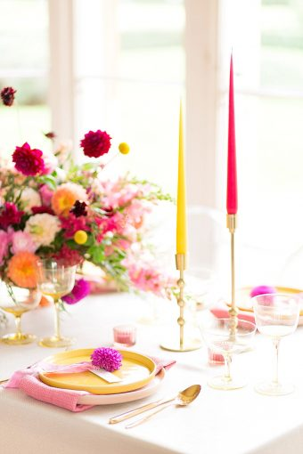 bright pink and yellow party inspiration with candles