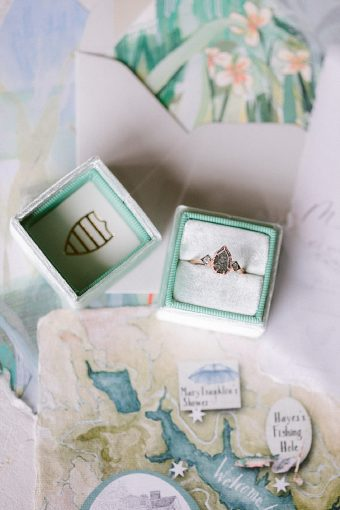 bespoke artisan engagement ring in velvet aqua the mrs box ring box and artisan handpainted details
