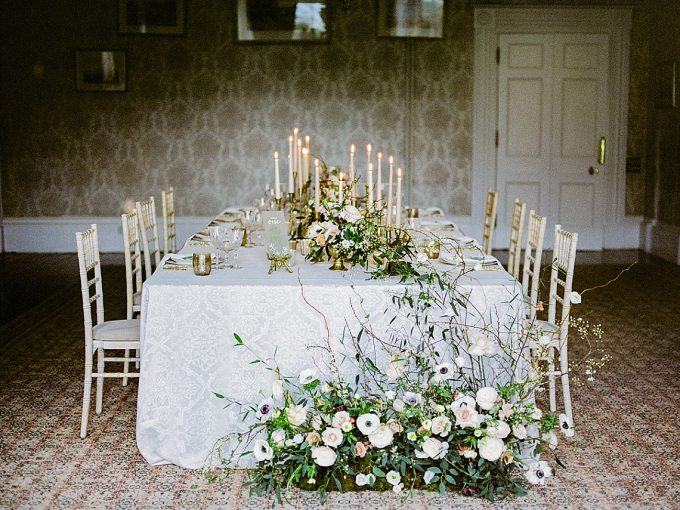 chinoiserie inspired wedding table with floral floorscape