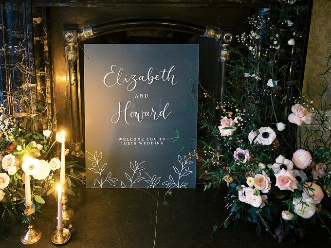chinoiserie inspired wedding welcome sign