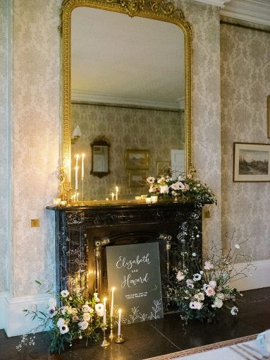 chinoiserie inspired wedding fireplace mantel flowers