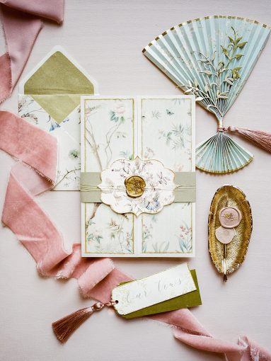 chinoiserie inspired wedding stationery