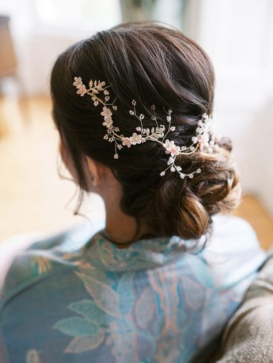 delicate gold wedding hair vine