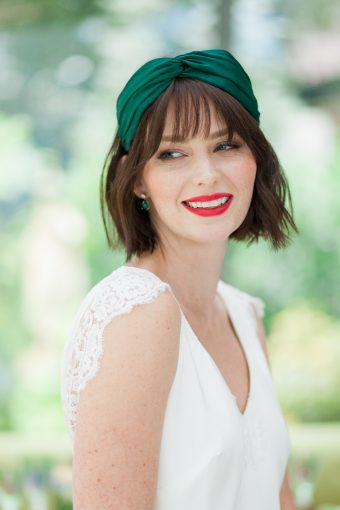 modern bride with short hair & bright red lip