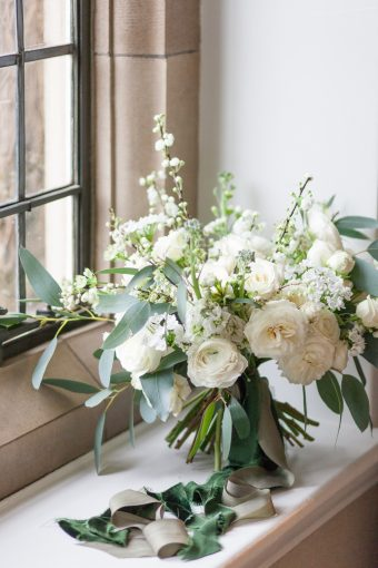 classic white & greenery bridal bouquet with roses