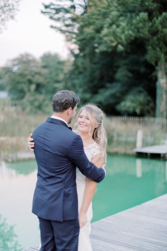 classically style bride and groom at wedding in france