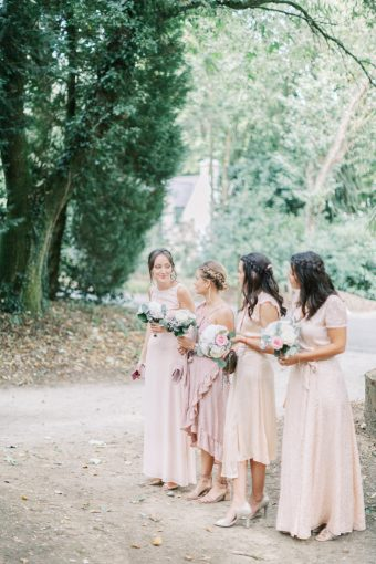 blush bridesmaids dresses and blush bouquet wedding in france