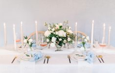 fresh spring blush powder blue wedding tablescape