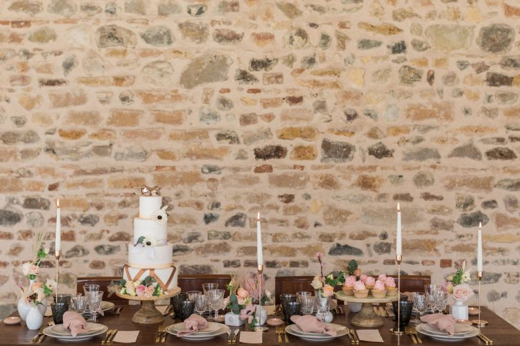 rustic french wedding dessert table with cake