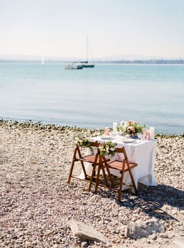 Table setting by lake