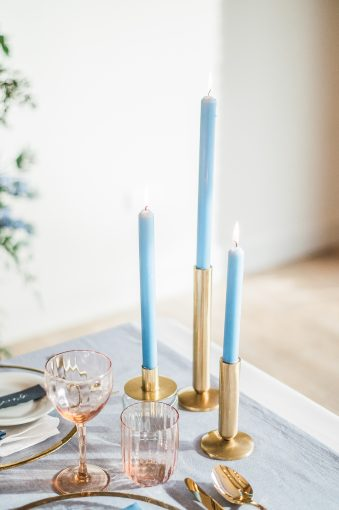 blue candles wedding table