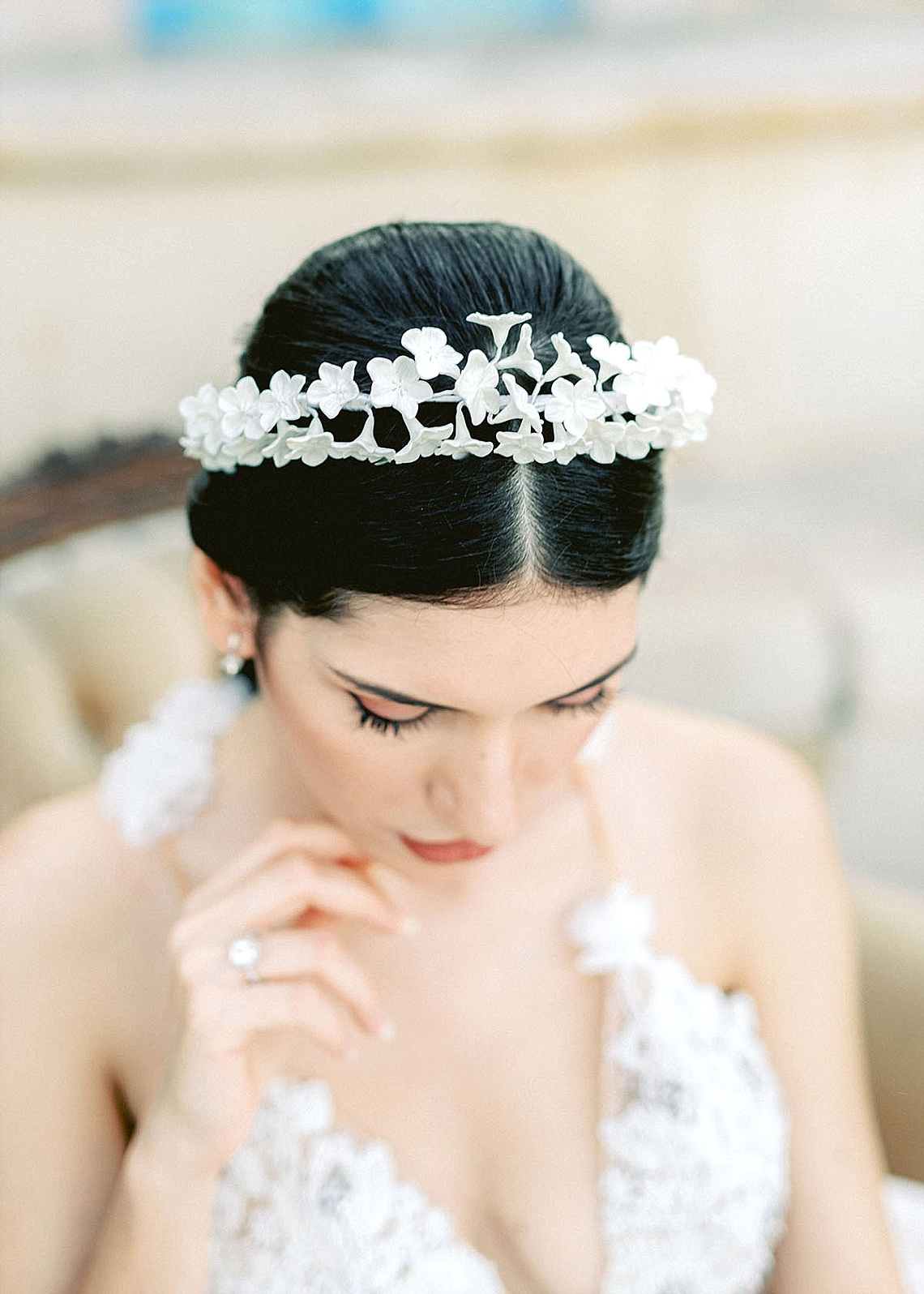 white floral crown