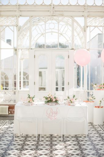 airy bridal shower space