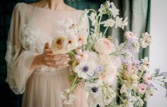 romantic bridal bouquet with anemones