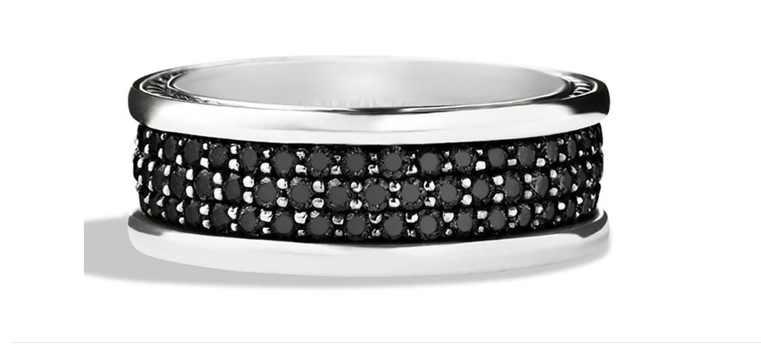 Three Row Band in Sterling Silver with Black Diamonds
